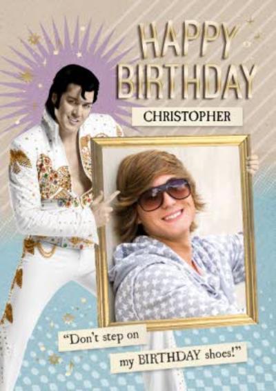 Elvis Personalised Photo Upload Happy Birthday Card