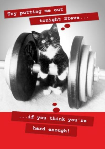 Weightlifting Cat Personalised Card