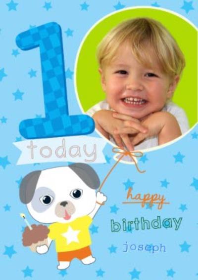 Cartoon Puppy Happy First Birthday Photo Card