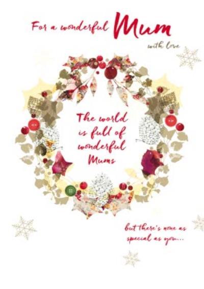 For A Wonderful Mum Christmas Wreath Card