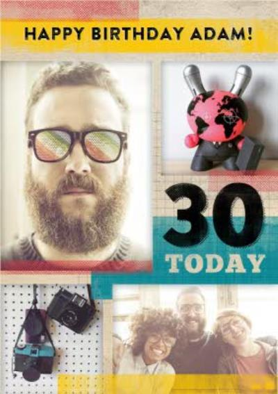 Soft Overlay Personalised Photo Upload Happy 30th Birthday Card