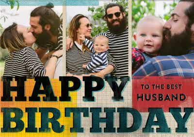 Colourful Grid Happy Birthday To The Best Husband Photo Card