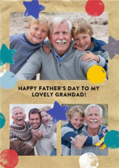 Colourful Spots And Stars Personalised Photo Upload Happy Birthday Card For Grandad