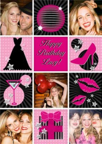 Pink Martinis And Heels Happy Birthday Photo Card