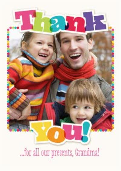 Rainbow Letters Family Photo Upload Christmas Thank You Card