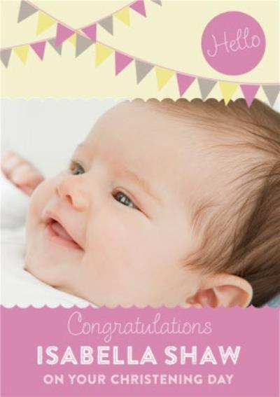 Congratulations With Bunting Personalised Christening Day Card