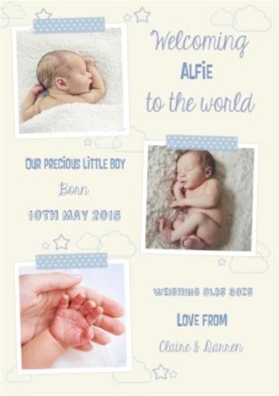 Precious Little New Baby Boy Announcement Card