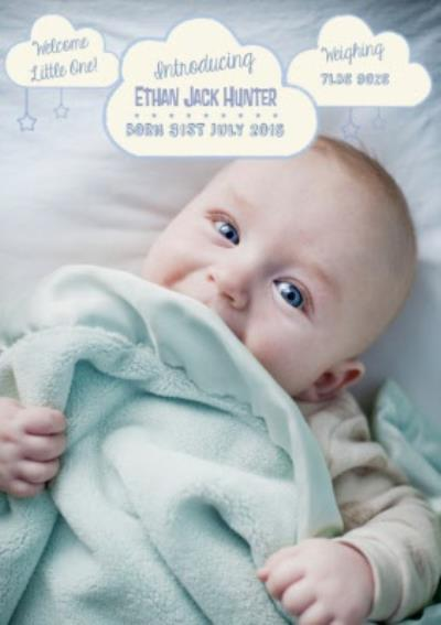 Introducing Our Little New Born Boy Announcement Card