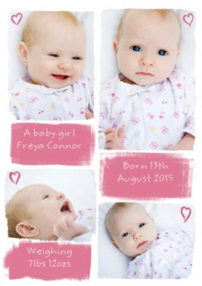 Little Hearts Personalised Photo Upload Baby Girl Card