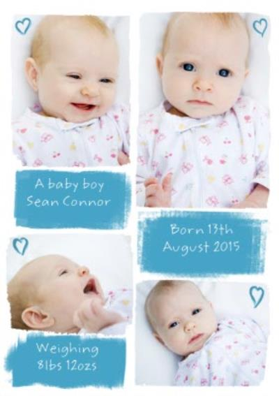 Little Hearts Personalised Photo Upload New Baby Boy Card
