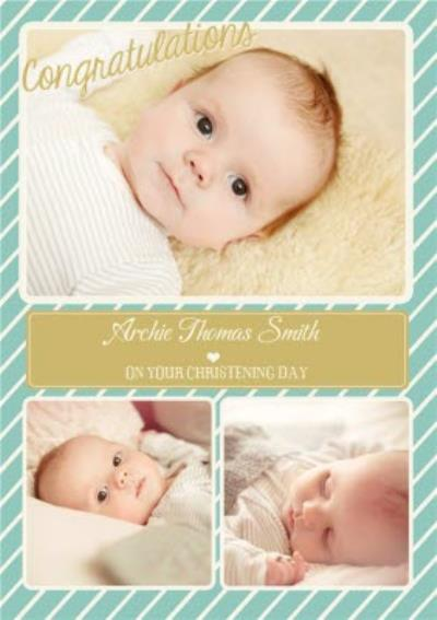 Teal And Striped Multi-Photo Christening Card
