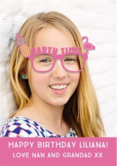 Party Glasses Birthday Photo Upload Card