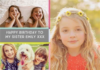 Colourblock Photo Upload Birthday Card