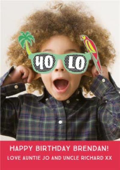 Yolo Sunglasses Birthday Photo Upload Card