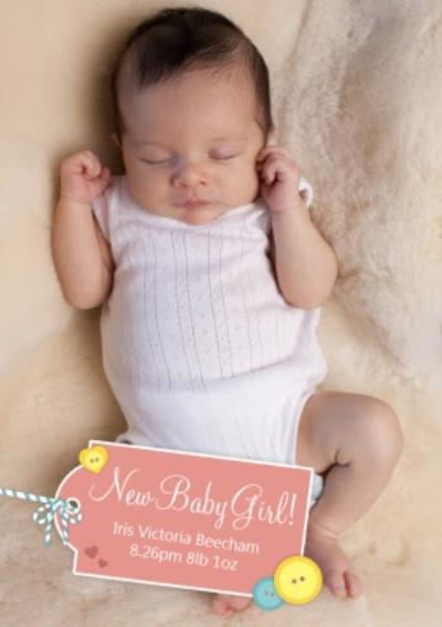 Coral Tag Personalised Photo Upload New Baby Girl Card