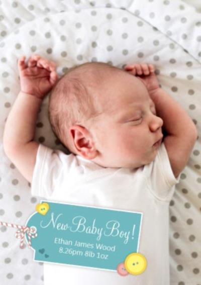New Baby Boy Personalised Photo Upload Baby Announcement Card