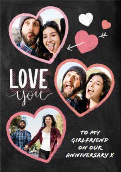 Anniversary Card - Love You - Girlfriend - Typographic Photo Upload
