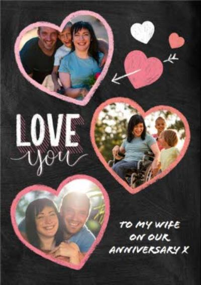 Anniversary Card - Love You - Wife - Typographic Photo Upload