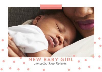 Photo upload card - New baby Girl