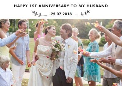 Happy 1st Anniversary photo upload Card To my Husband