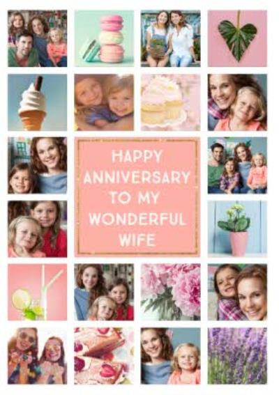 Wonderful Wife 20 Photo Upload Anniversary Card