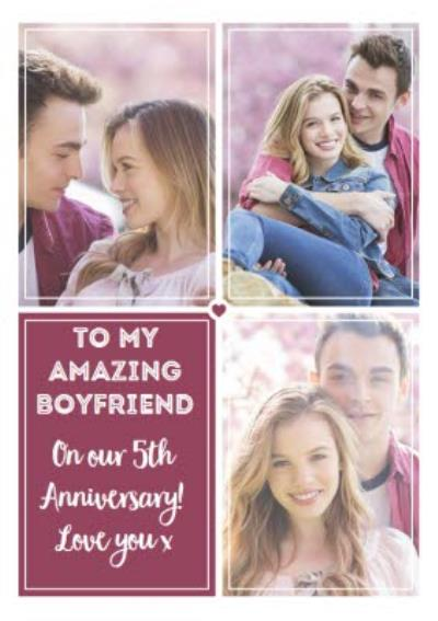 5th Anniversary Photo Upload Card For Boyfriend