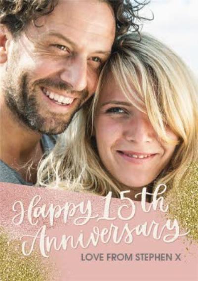 Happy 15th Anniversary Photo upload card