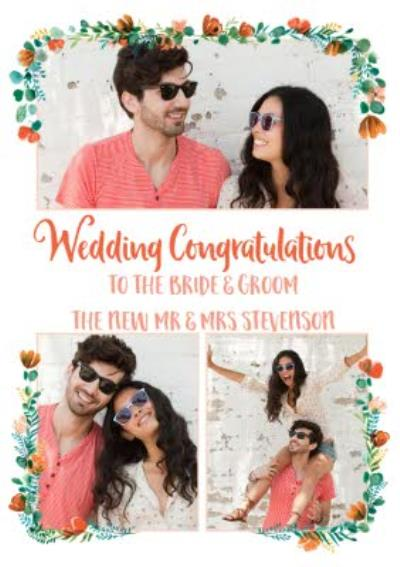 Wedding Card - Wedding Congratulations - Floral Modern Photo Upload card - To The Bride And Groom