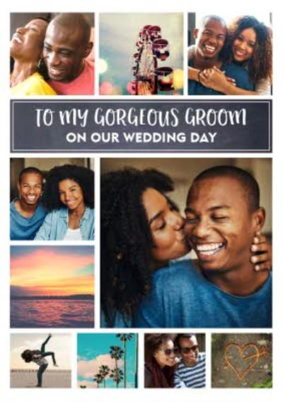 Modern Photo Upload wedding card - To My Gorgeous Groom - On Our Wedding Day
