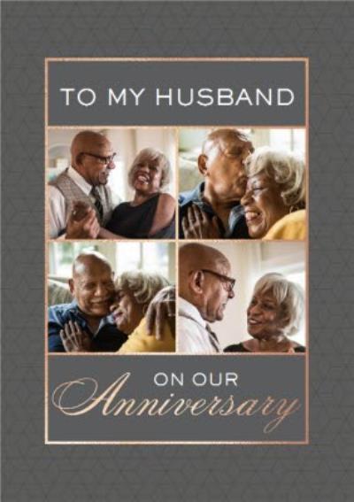 Geometric Pattern Modern Photo Upload Husband Anniversary Card