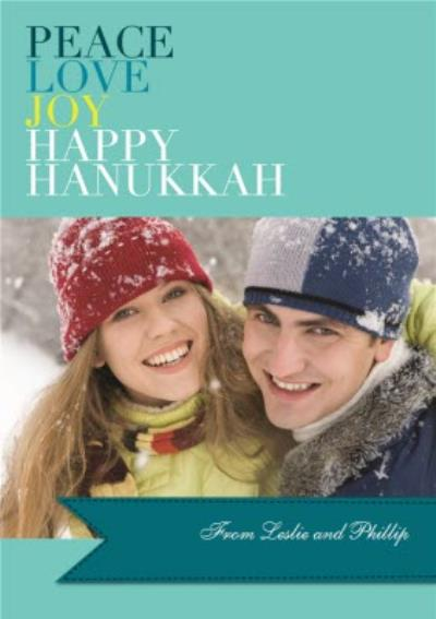 Peace Love Joy Personalised Photo Upload Happy Hanukkah Card