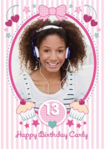Pink Striped Cupcakes Happy 13th Birthday Photo Card