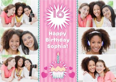 Pretty Cupcake And Candle Personalised Multi Photo Upload Happy 16th Birthday Card