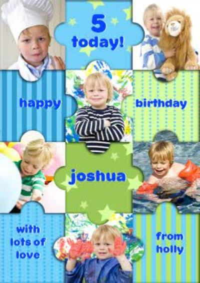 Colourful Puzzle Pieces Happy Birthday Photo Card
