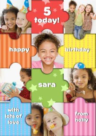 Rainbow Puzzle Personalised Photo Upload Happy 5th Birthday Card