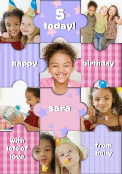 Pastel Puzzle Pieces Kids Happy Birthday Multi-Photo Card