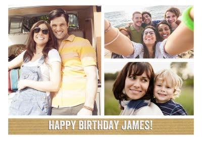 Classic 3 Square Personalised Photo Upload Happy Birthday Card