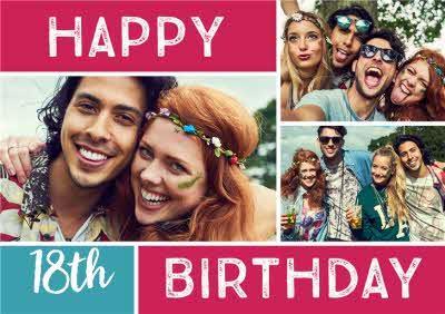 Colourful Grid Multi-Photo 18Th Birthday Card