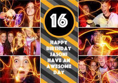 Colourful Stripes Multi-Photo Happy 16Th Birthday Card