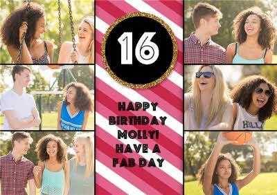 Colourful Stripes And Gold Glitter Multi-Photo Happy 16Th Birthday Card