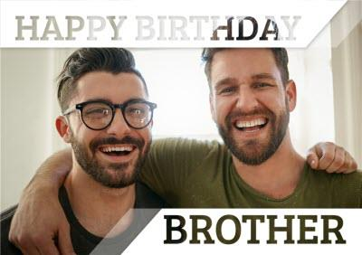 Invisible Letters Happy Birthday Brother Photo Upload Card