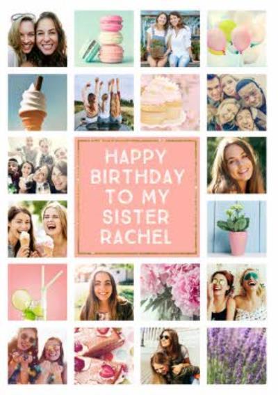 Birthday Card - Photo Upload Card - 20 Photos - Sister