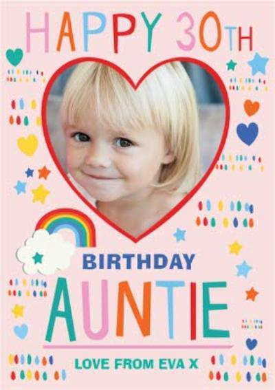 Photo Upload Birthday Card Happy 30th Auntie