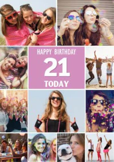 Multiple Photo Upload Happy Birthday 21 Today Card