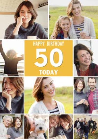 50 Today Happy Birthday Multi Photo Upload Birthday Card