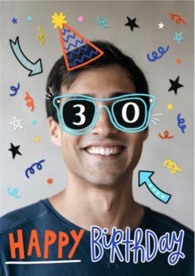 30th Birhday Bright Graphic Photo Upload Birthday Card