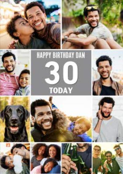 Multiple Photo Upload Happy 30th Birthday Card