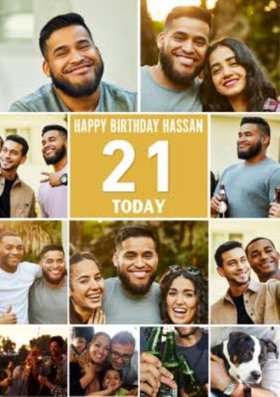 Multiple Photo Upload Happy 21st Birthday Card