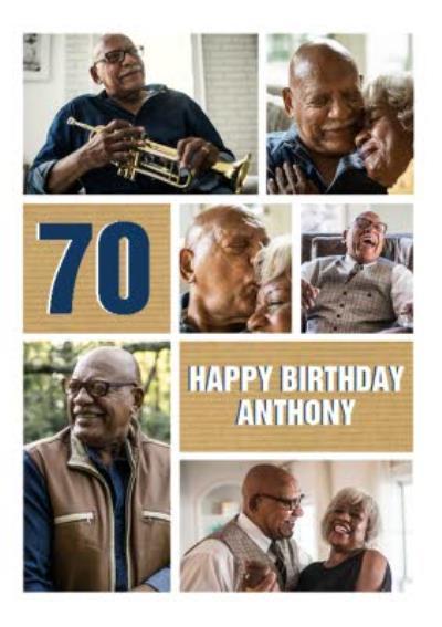 Multiple Photo Upload Happy 70th Birthday Card
