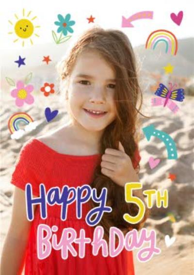 Fun Modern Photo Upload 5th Birthday Card